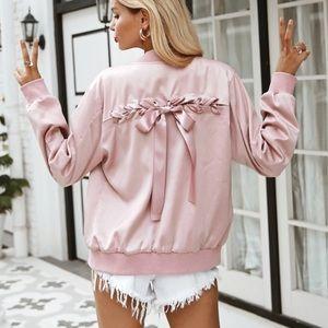 Jackets & Blazers - Pink satin bow bomber jacket